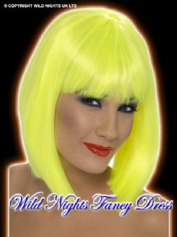FANCY DRESS WIG # 70'S / 80'S GLAM WIG NEON YELLOW